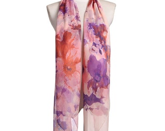 Womens Scarf, Floral Print Scarf,  Fashion Scarf, Chiffon Scarf, Voile Scarf, Cotton Scarf