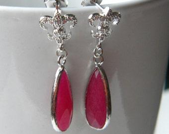 Silver Fleur de Lis Paris Inspired Earrings Romantic  Red Teardrop Fleur de Lis Post Earring