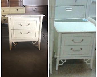 Thomasville PAIR of Faux Bamboo Nightstands- Available for Custom Lacquer