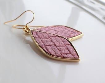 Pink Velvet Earrings, Velvet Gold Dangle Earrings, Dark Pink Rose Velvet Drop Earrings, Dusty Rose Fashion Earrings, Pink Gold Drop Earrings