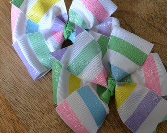Set of Two Striped Hair Bows Spring Easter Glitter Pastels