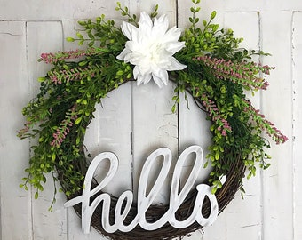 Spring Wreath; Summer Wreath; Grapevine Wreath; Hello