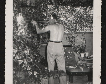 Vintage Snapshot Shirtless Man From Behind Points Rifle at Neighbors 1940's, Original Found Photo, Vernacular Photography