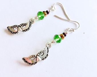 Mardi Gras earrings, Mardi Gras mask earrings, enameled mask earrings, green, gold and purple Fat Tuesday earrings