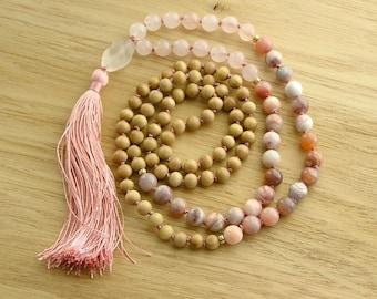 108 Mala Beads Necklace with silk Tassel - Rose Quartz, Botswana Agate, Sandalwood naturally fragrant