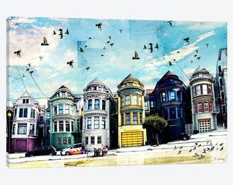 San Francisco Art, Painted Ladies, San Francisco Art Print, Street Art Canvas Wall Art, Alamo Square, Victorian Houses Home Travel Art Gift