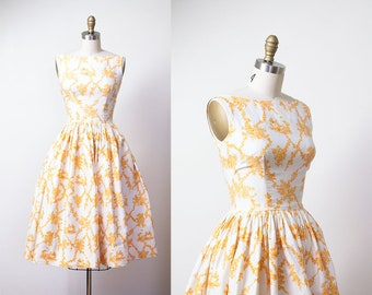 1950s Toile Print Dress / 50s Cotton Sundress