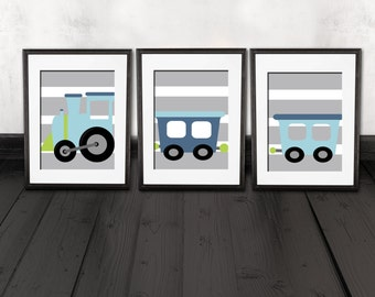 train nursery wall prints, train bedroom wall decor, train wall prints, COLOR customized, Trains wall art prints, set of 3 shipped, trains