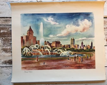 Vintage reproduction watercolor by Joe Feher/ Chicago Skyline/ print/ art