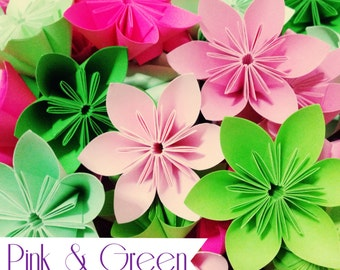 Green and Pink Theme - Colorful Origami Folding Flowers - 20 pcs