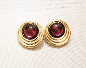 Vintage Gold Purple Stud Earrings, Big Bold Earrings, Gifts Under 15