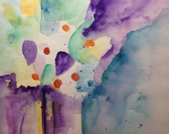 Original watercolor watercolor Painting flowers abstract picture unique art Watercolor Flowers abstract