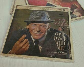 Frank Sinatra Album Cover Coasters - retro distreesed coasters