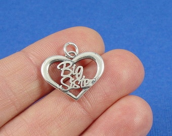 Big Sister Heart Charm - Sterling Silver Big Sister Charm for Necklace or Bracelet