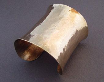 Hammered Brass Cuff Bracelet Wide Cuff Bracelet Gold Cuff Bracelet Greek Jewelry Metalsmith Metal Jewelry by Seventh Willow