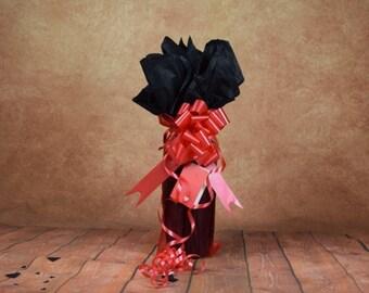 Valentines Bottle Bag - Red with Black