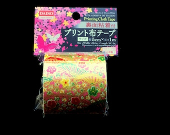 Japanese Fabric Tape -  Pink Tape - Japanese Tape - Plum  Blossom Tape - Fans (FT11)