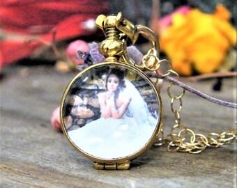 round gold memory glass locket photo locket heirloom keepsake necklace 14 karat gold fill