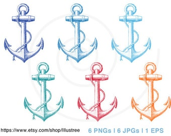 Vintage anchor digital clipart set in six colors, nautical, rope, sailor,print, printable, commercial use, PNG, JPG, EPS, instant download