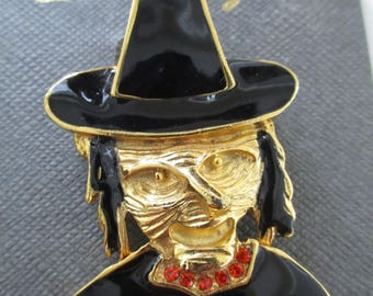 Ulgy Faced Black With Gold and Rhinestones Vintage Witch  Brooch/pin
