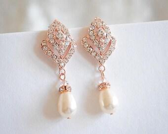 Rose Gold Bridal Earrings, Crystal Wedding Earrings, Swarovski Teardrop Pearl Drop Earrings, Art Deco Rhinestone Dangle Drop Earrings, LORNA