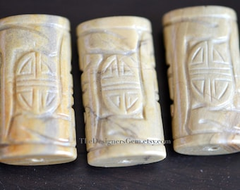 Large Natural Tan Cream and Gray Colored Carved Jasper Pendants 38 x 20 x 12mm - 1 Pendant