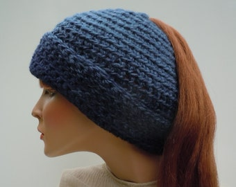 Ponytail Hat, Messy Bun Hat, Denim Blue Hat, Navy Blue Hat, Blue Messy Bun Hat, Hat For Long Hair, Winter Beanie, Cold Weather Hat
