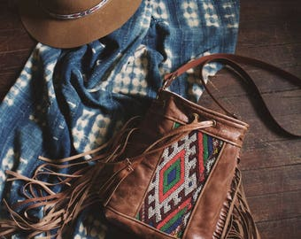 SALE Gypsy Boho Bag. Leather Fringe Bag.  Boho Fringe Bag. Leather Crossbody.  Moroccan Bag. Kilim Bag. Ready to Ship. Festival Fashion.