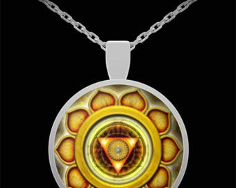Solar Plexus Chakra Pendant | Silver Necklace | Jewelry | Reiki | 22 Inch Chain | Great Gift Idea