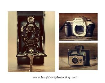 Vintage Camera Photo Print Set, Collectible Photography, Kodak Canon Polaroid Still Life, Home Decor Wall Art Photographer Hipster Decor