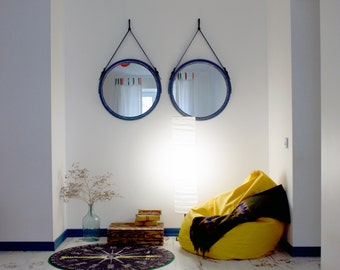 "Round Mirror on the Leather Belt ""Rio"" / Loft Style / Wall Mirror / Strap Mirror / Color Choice / Wall Hanging Mirror / Decorative Mirror"