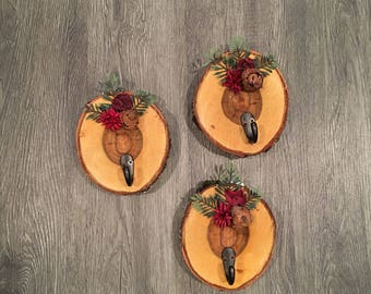 Rustic Wall Hooks- Set of Three, Red