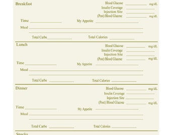 diabetic log book printable