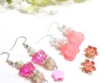 Rose Floral earring set of three (dark pinks)