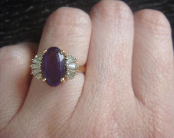 Vintage Amethyst and Diamond Ring Wedding Jewelry Engagement Ring