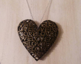 Brass Heart Pendant Necklace. Oxidized Brass Heart Pendant On A 24 Inch Silver Plated Chain. Oxidized Brass Heart Pendant with Love Cutout.