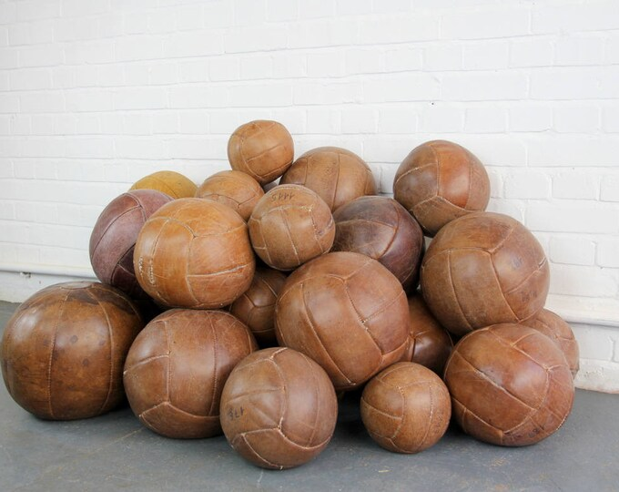 Leather Medicine Balls Circa 1940s