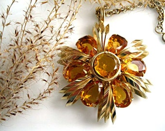Topaz Glass Tassle Necklace, Huge Faceted Glass Oval Pendant, Baguette Rhinestones, Swag Chains, Tawny Whiskey Amber Colors