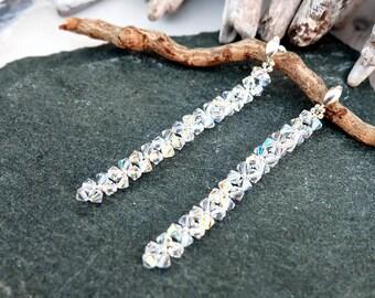 Bridal earrings, Swarovski earrings, Beaded earrings, Bridesmaids earrings, Sterling Silver earrings, Aurora borealis, Long crystal earrings