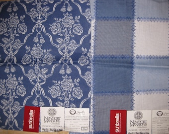 Blue White Outdoor Newport Pindler Designer Fabric Lot Samples Coordinated Sunbrella Charente Almy