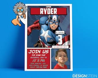 Captain America Birthday Invitation - Comic Book