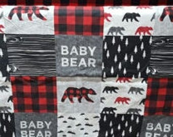 Baby Bear Contour Changing Pad Cover - Red Black Check, Bears, Adventure, Woodland