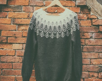 Nordic Style Yoke Sweater Hand Knit in Anthracite/Grey/Cream - Merino Wool - READY TO SHIP