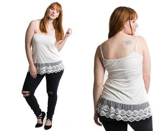Lace Camisole Shirt Extender Tank Top - Black, Ivory, Turquoise
