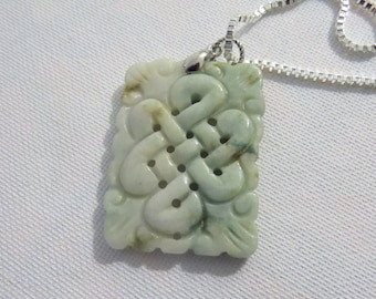 """Green carved pendant & 20"""" sterling silver box chain"""