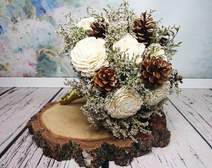 Large ivory pine cones sola flowers rustic wedding BOUQUET dried limonium antique gold satin ribbon bridal vintage custom