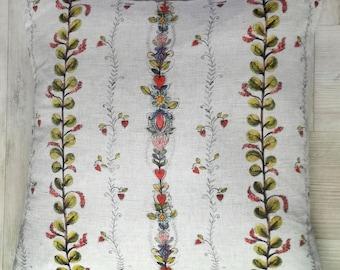 Cushion - Large Succulent Stripe on Beige linen