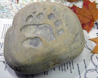 Bear Paw Print Engraved Paperweight Stone