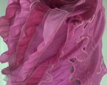 Handmade  felted silk scarf with ruffles