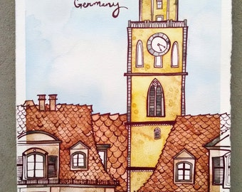 MERGENTHEIM GERMANY Original 7.5x11.5 Ink and Watercolor Painting